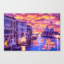 Colorful Abstract Painting of Venice Canvas Print