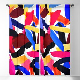 Artsy Vibrant Colorful Brushstroke Explosion Art Blackout Curtain