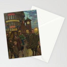 Bustling Berlin Street, Twilight, 1920's by Hans Baluschek Stationery Cards