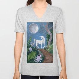 Moonlit Unicorn Unisex V-Neck