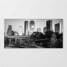 Houston Skyline Panorama Over the Buffalo Bayou - BW Edition Canvas Print