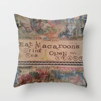 macaroons Throw Pillows featuring Macaroons by drskippyart
