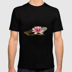 Water Lilies Mens Fitted Tee MEDIUM Black