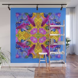 Blue  Patterns Morning Glories & Gold Wall Mural