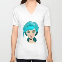 turquoise V-neck T-shirts featuring Turquoise by Hingy Art