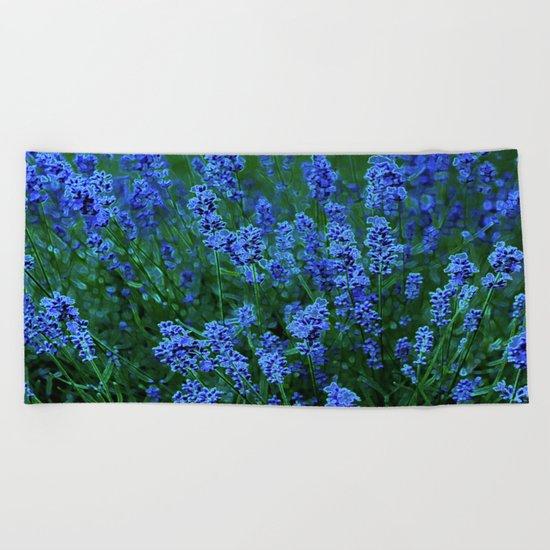 Glowing Blue Floral Beach Towel