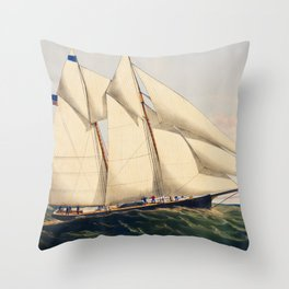 The Yacht Henrietta modeled by Mr Wm Booker NY Built by Mr Henry Steers Greenpoint LI by Charles Parsons Throw Pillow
