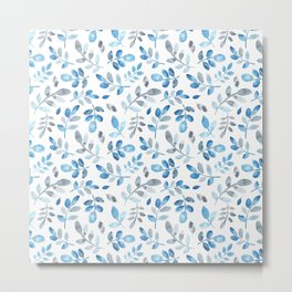Pastel blue hand painted watercolor leaves floral Metal Print