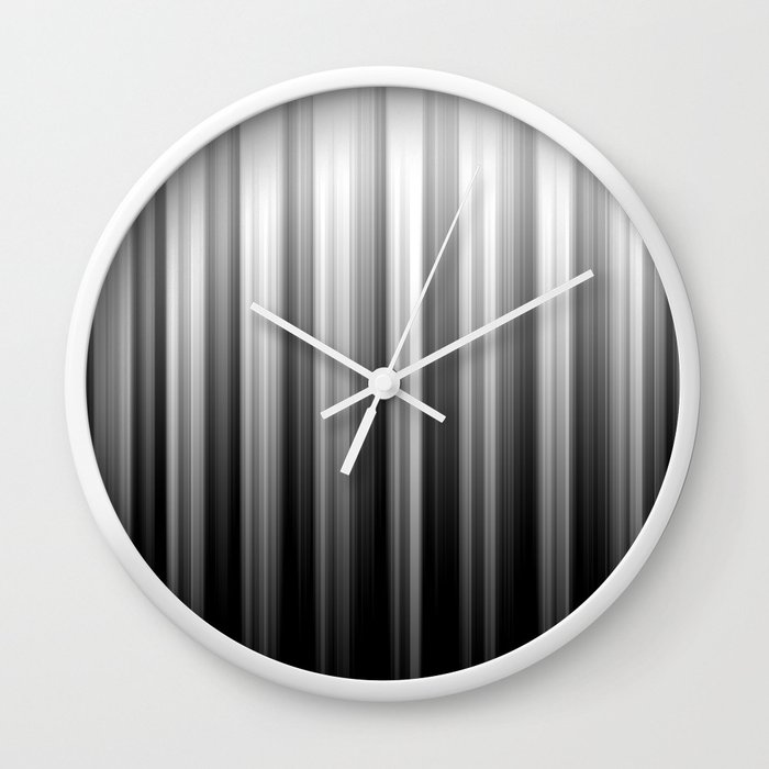 Black And White Soft Blurred Vertical Lines - Ombre Abstract Blurred Design Wall Clock