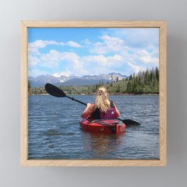 Watercolor People in Nature Woman Kayaker 03, Indian Peaks Views Framed Mini Art Print