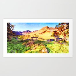 Bench at Buttermere, Lake District, Cumbria, UK Art Print