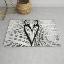 Hearts and Lovers, ring and heart light and shadow black and white photograph / art photography Rug
