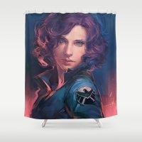 meme Shower Curtains featuring MEME 015 Black Widow by mushroomtale