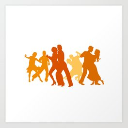 Tango Dancers Illustration  Art Print