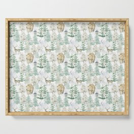 Woodland Animals in Winter Forest Serving Tray