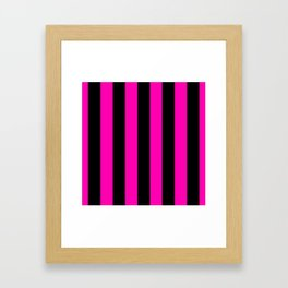 Bright Hot Neon Pink and Black Circus Tent Stripes Framed Art Print