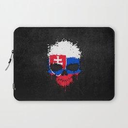 Flag of Slovakia on a Chaotic Splatter Skull Laptop Sleeve
