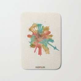 Berlin, Germany (Deutschland) Colorful Skyround / Skyline Watercolor Painting Bath Mat