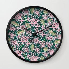 Pink Frangipani Leaf Pattern Wall Clock