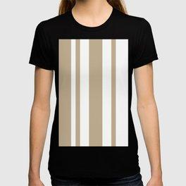 Mixed Vertical Stripes - White and Khaki Brown T-shirt