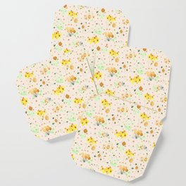 Whimsical Honeybees | Hives Honeycomb Clover Flowers Coaster