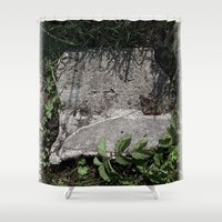 concrete Shower Curtains featuring concrete by Ruud van Koningsbrugge