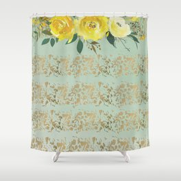 Mint green yellow gold watercolor geometrical floral Shower Curtain