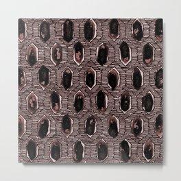 Watercolour Blackwork: 'Lozenge' Burnt Rose 2 (dark) Metal Print