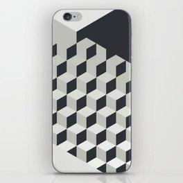 Gradient Cubes – Ebony Black / Warm Gray Abstract Print iPhone Skin