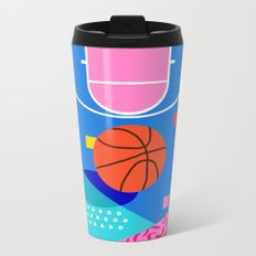 Shot Caller - memphis retro basketball sports athletic art design neon throwback 80s style Metal Travel Mug