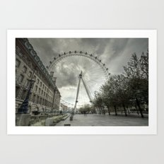 Cloudy London Eye Art Print