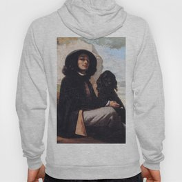 Gustave Courbet - Self-Portrait with a Black Dog Hoody