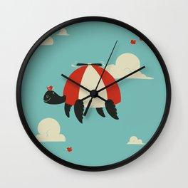 Turtle Hat Flies in the Sky Wall Clock