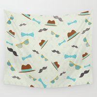 hats Wall Tapestries featuring Hipster Glasses Hats & Mustaches Pattern   by Cool Cat Creative