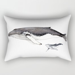 North Atlantic Humpback whale with calf Rectangular Pillow