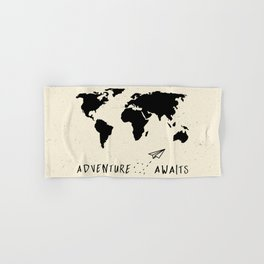 Adventure Map - Vintage Black Hand & Bath Towel