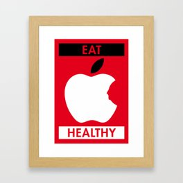 Illustrated new year wishes: #6 EAT HEALTHY Framed Art Print
