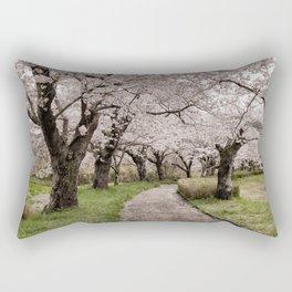 Row of cherry blossom trees Rectangular Pillow