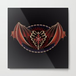 Gothic Heart With Wings Tattoo Design                                                       Metal Print