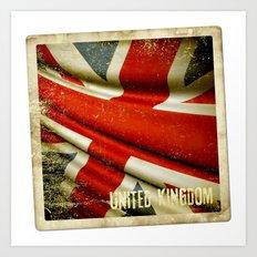 Sticker with UK flag Art Print