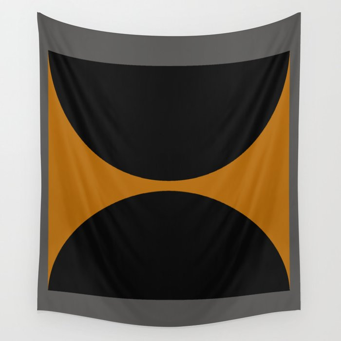 Black and Gray Gradient with Gold Squares and Half Circles Digital Illustration - Artwork Wall Tapestry