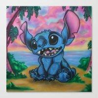 stitch Canvas Prints featuring Stitch by spiderdave7