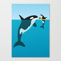 orca Canvas Prints featuring Orca by WyattDesign
