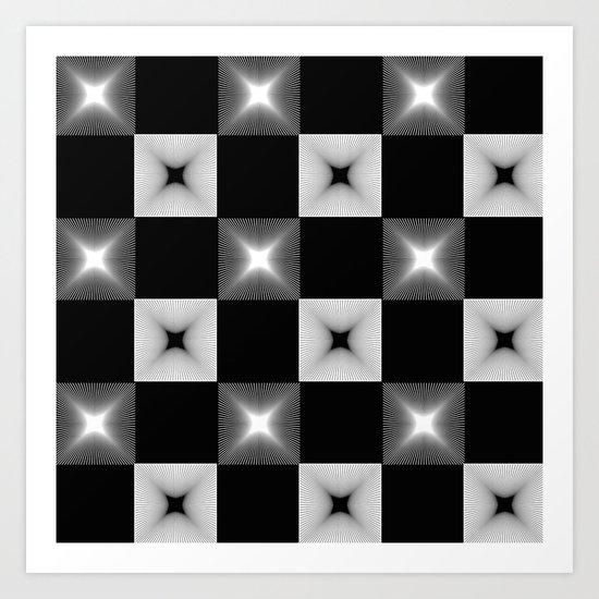 Black And White Illusion Pattern Art Print