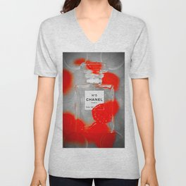 No 5 Red Splash Unisex V-Neck