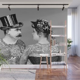 Tattooed Victorian Lovers Wall Mural