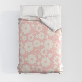 White flowers over pink Comforters