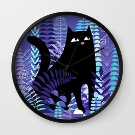 The Ferns (Black Cat Version) Wall Clock