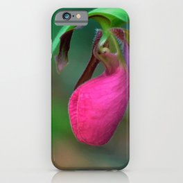 New England Wild Lady Slipper Orchid Flower iPhone Case