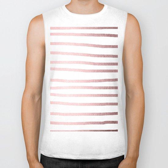 Simply Drawn Stripes Rose Quartz Elegance Biker Tank